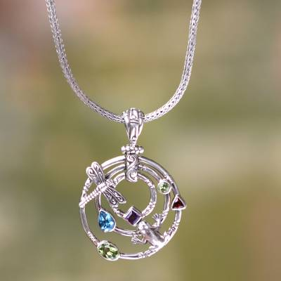 Peridot and blue topaz pendant necklace, 'Fantasy Garden' - Peridot and blue topaz pendant necklace