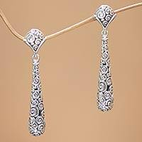 Sterling silver dangle earrings, 'Offering' - Sterling silver dangle earrings