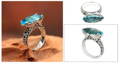 3 silver rings gold - Blue Topaz 925 Silver Cocktail Ring