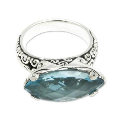 Blue Topaz 925 Silver Cocktail Ring