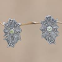 Gold accent peridot button earrings, 'Gracious Lady' - Gold accent peridot button earrings