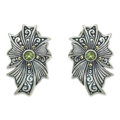 Gold accent peridot button earrings