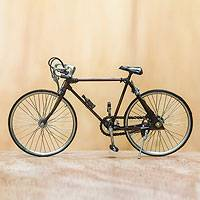 Metal art statuette, 'Pit Balap' (large) - Artisan Crafted Bicycle Sculpture