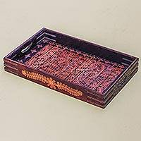 Wood batik tray, 'Orange Paddy' - Hand Crafted Wood Batik Tray from Indonesia
