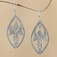 Sterling silver dangle earrings, Dewdrop Leaf