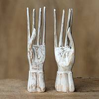 Wood ring holders, 'Graceful Dancer' (pair) - Modern Wood Ring Holders (Pair)