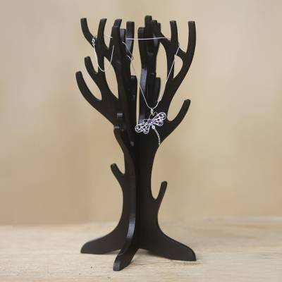 Wood jewelry display stand, 'Sumatra Coral' - Black Coral Wooden Jewelry Stand