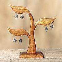 Wood earring tree, 'Daun Salam' - Bayleaf Earring Stand Sculpture Hand-carved Wood