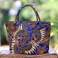 Cotton batik tote handbag 'Glorious Java' - Beaded Blue Cotton Batik Handbag Hand Crafted in Bali