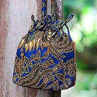 Beaded cotton batik shoulder bag, 'Javanese Bluebird' - Beaded Blue Cotton Batik Shoulder Bag