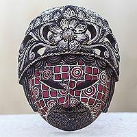Wood batik mask, 'Raden Ayu' - Batik Wood Mask Indonesian Wall Art