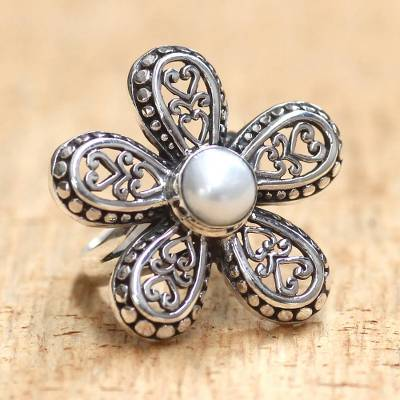 silver medallion necklaces pendants men - Women's Cultured Pearl and Silver 925 Flower Ring