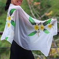 Hand painted silk shawl, 'Yellow Frangipani' - Handpainted Floral Sheer Silk Shawl