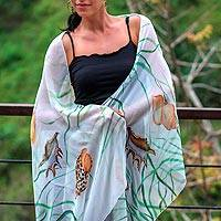 Hand painted silk shawl, 'Balinese Seashells' - Handpainted White Silk Shawl with Seashells