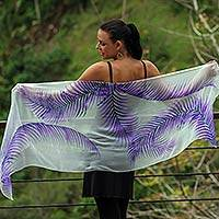 Hand painted silk shawl, 'Purple Fern Shadow' - Handpainted Sheer White Silk Shawl with Purple Ferns