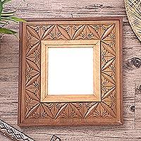 Reversible wood relief panel mirror,