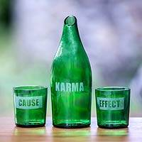 Recycled glass carafe and glasses, 'Karma Effect' (set for 2) - Unique Recycled Glass Carafe with Two Glasses