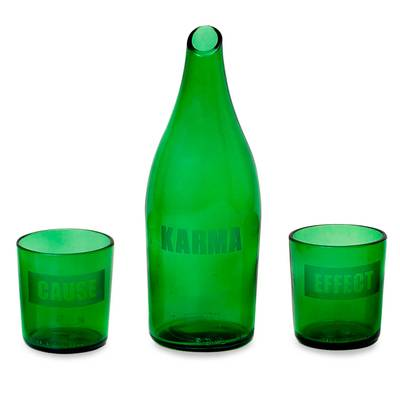 Recycled glass carafe and glasses, 'Karma Effect' (set for 2) - Recycled glass carafe and glasses