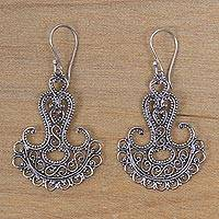Sterling silver filigree earrings, 'Benoa Anchor' - Sterling silver filigree earrings