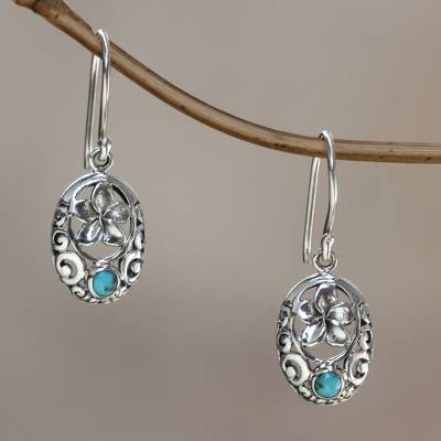 Sterling silver flower earrings, 'Bali Bouquet' - Artisan Crafted Turquoise Flower Earrings