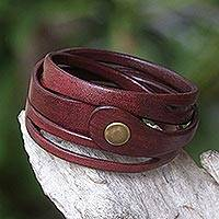 Leather wrap bracelet, 'Crimson Whisper' - Artisan Crafted Red Leather Wrap Bracelet