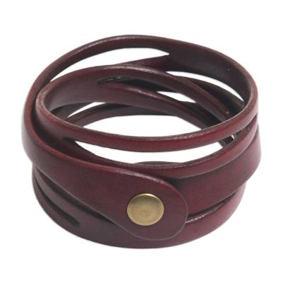 Artisan Crafted Red Leather Wrap Bracelet