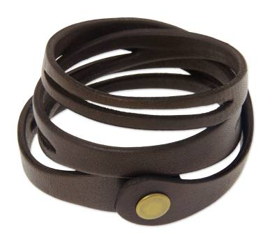 Fair Trade Wide Brown Leather Wrap Bracelet with Iron Snap Clasp