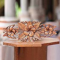 Wood relief panel, 'Three Plumeria Blossoms' - Plumeria Blossoms Wall Sculpture from Bali