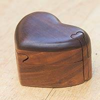 Wood puzzle box, 'Keep My Heart' - Hand Crafted Heart Puzzle Wood Box from Bali