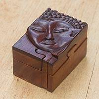 Wood puzzle box, 'Young Buddha' - Four-Part Box Featuring Buddha Carving