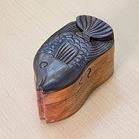 Wood puzzle box, 'Bali Fish' - Puzzle Box Sculpture Carved by Hand with Natural Woods
