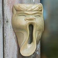 Wood mask, 'Big Yawn' - Handmade Bali Hibiscus Wood Mask