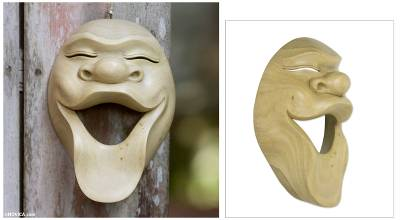 Wood mask, 'Laugh Out Loud' - Hand Carved Bali Hibiscus Wood Mask