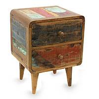 Reclaimed teakwood side table, 'Multicolor Rusticity' - Vintage Look Side Table in Reclaimed Teakwood