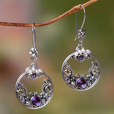 Cultured pearl and amethyst earrings Frangipani Moons
