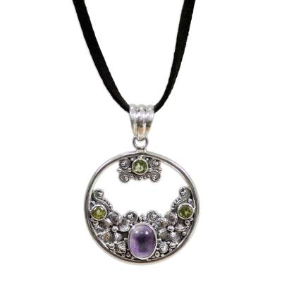 Peridot Amethyst and Sterling Silver Necklace Bali Jewelry