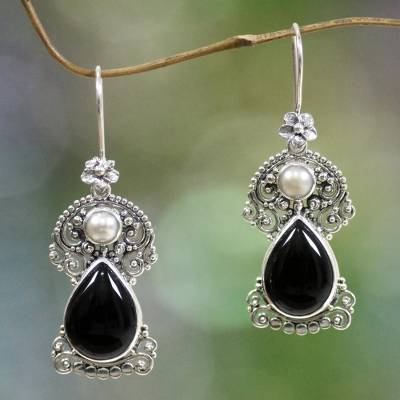 Cultured pearls and onyx flower earrings 'Frangipani Nights' - Pearls and Onyx Earrings Artisan Crafted Thai Jewelry