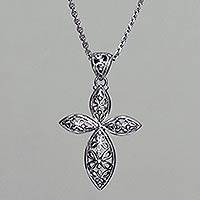 Sterling silver pendant necklace, 'Kawung Rosette Cross' - Handmade Javanese Style Silver Cross Necklace