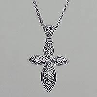 Sterling silver pendant necklace, 'Kawung Rosette Cross' - Handmade Javanese Style Silver Cross Necklace