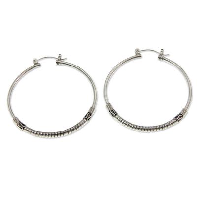 Artisan Crafted Sterling Silver Balinese Hoop Earrings
