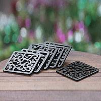 Wood coasters, 'Square Night Garden' (set of 6) - 6 Handmade Wood Coasters Set