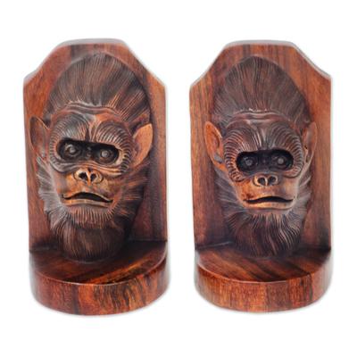 Balinese Artisan Crafted Signed Orangutan Bookends (Pair)