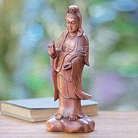 Wood statuette, 'Beautiful Kwan Im' - Buddhist Goddess Sculpture Hand-carved Wood