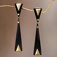 Horn dangle earrings, 'Black Mountain' - Handcrafted Brass Accent Earrings with Water Buffalo Horn