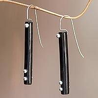 Sterling silver accent drop earrings, 'Benoa Moonlight' - Hand Crafted Silver Accent Earrings with Water Buffalo Horn