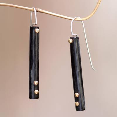 Brass accent drop earrings, 'Benoa Sunlight' - Hand Crafted Brass Accent Earrings with Water Buffalo Horn