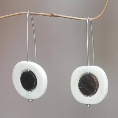 Horn and bone drop earrings, 'Owl' - Handcrafted Bone Earrings with Water Buffalo Horn
