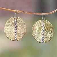 Brass and sterling silver dangle earrings, 'Ocean Sunset' - Handmade Silver Accent Brass Dangle Earrings