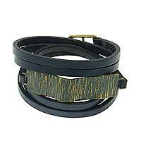 Leather wrap bracelet, 'Audacious Charcoal' - Gray Leather Wrap Bracelet with Antiqued Brass Plate