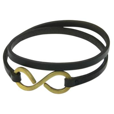 Artisan Crafted Leather Wrap Bracelet with Large Brass Hook
